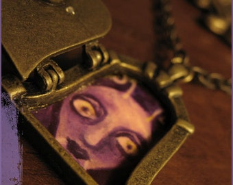 SALE Purple MOTH necklace fairy door vintage keyhole Blackcurrant - Wearable illustration