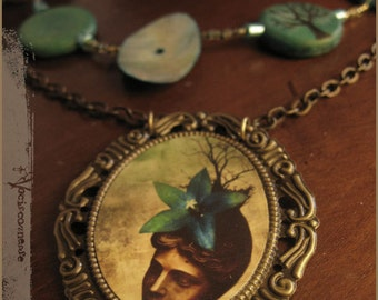 Winter Dream illustrated cameo necklace with abalone shell wood beads brass chain - illustrated jewelry
