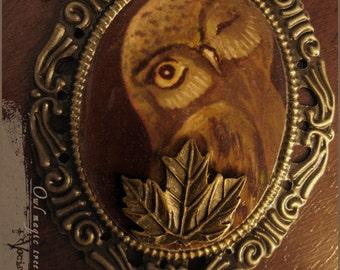 Owl magic tree - woodland owl original illustration cameo necklace with tigereye stone pendant