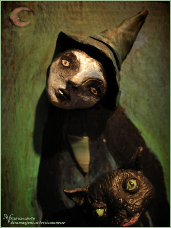 WITCH under the moon and the Black CAT- OOAK mixed media artwork sculpture painting -Windows on this world