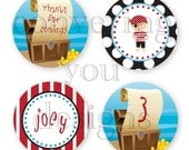 Pirate Party - Customized DIY You Print Favor Tags, Cupcake Toppers, Decorative Circles