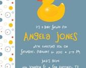 Rubber Ducky - Custom Baby Shower Invitation