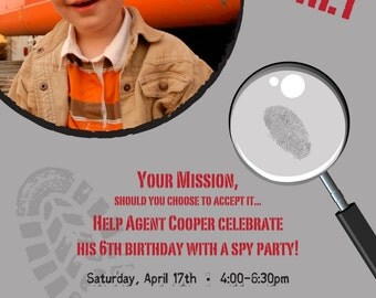 Spy Party - Custom Photo Birthday Invitation for any Age