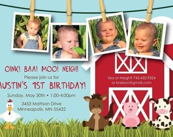 Farm Friends First Birthday - Custom Photo Birthday Invitation