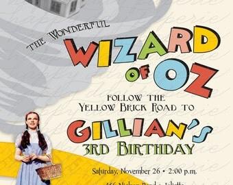 Wizard of Oz - Custom DIGITAL Birthday Party Invitation Invite for any age BOY or GIRL designs
