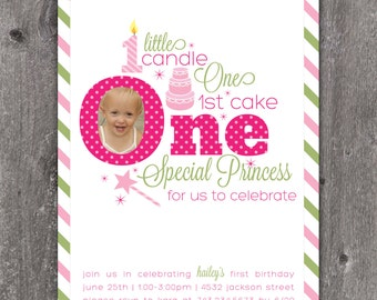 One Little Princess - Custom DIGITAL Photo Birthday Invitation Invite for Girl