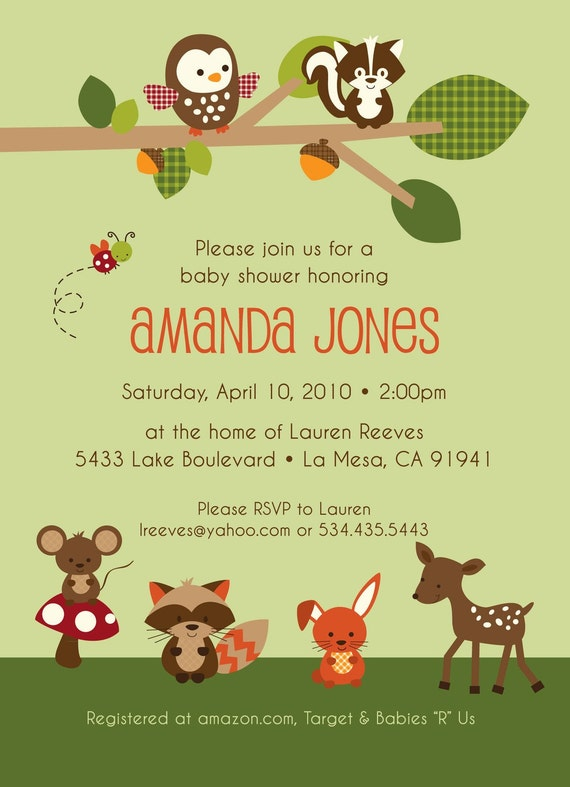 Forest Friends II - Custom Baby Shower Invitation, boy, girl, neutral