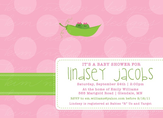 Two Peas in a Pod - Custom Baby Shower Invitation, girl