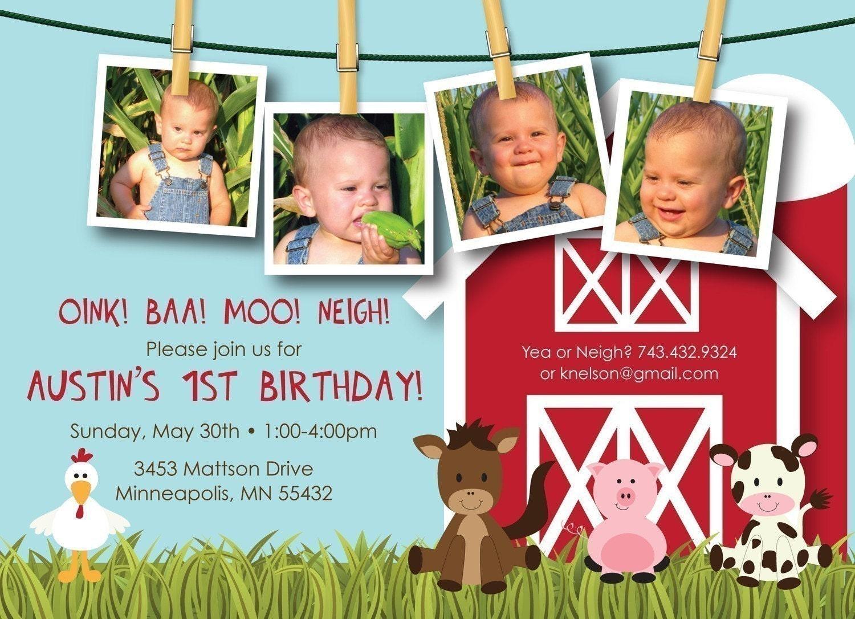 Farm Friends First Birthday Custom Photo Birthday Invitation