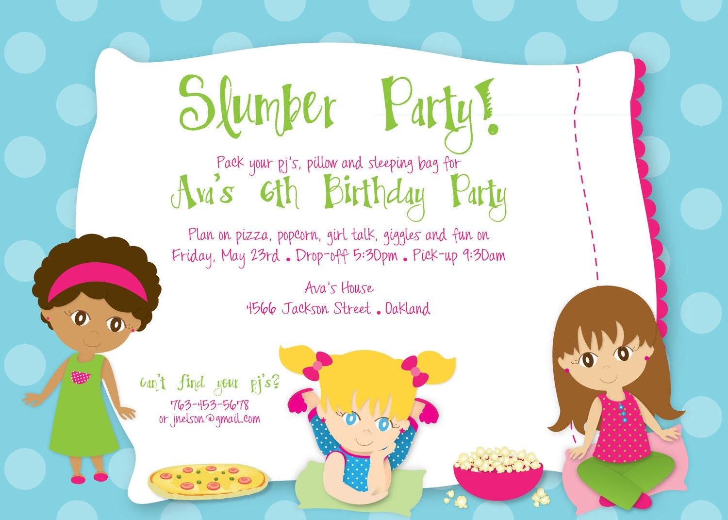 Slumber Party Birthday Custom DIGITAL by KimNelsonCreative
