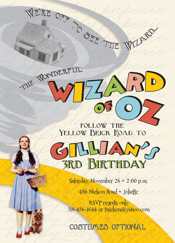 Wizard of oz custom digital birthday party invitation invite zoom monicamarmolfo Image collections