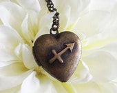 zodiac heart locket necklace . bronze . sagittarius