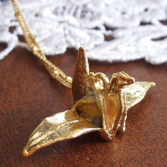 N103 Gold Paper Crane Charm Necklace
