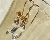 HALF PRICE SALE Crystal Quartz Concave Briolette and Rainbow Moonstone Vermeil Gold Bridal Earrings