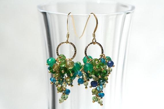 SALE 35% OFF Mermaids Kiss Neon Blue Apatite Green Onyx Green Quartz, Blue Quartz, Peridot, Grossular Garnet Vermeil Gold Cascading Earrings