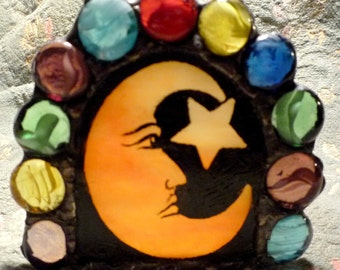 Celestial Moon & Star Hand Painted Stained Glass Mosaic Candle Holder
