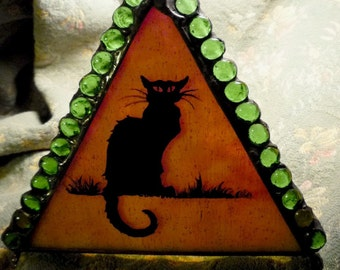 Gothic Black Cat & Crescent Moon Painted Stained Glass Halloween Candle Holder