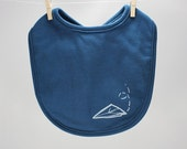 Organic baby bib Paper Airplane screen printed
