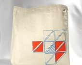 Recycled Fair Trade tote bag screenprint geometric triangle pattern orange and peacock blue ink