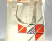 Recycled cotton tote bag screenprint geometric triangle pattern orange and dark violet ink