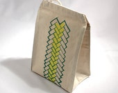 Recycled cotton lunch bag geometric brick pattern yellow with green water based ink