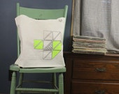 geometric triangles tote bag recycled cotton neon green and steel gray