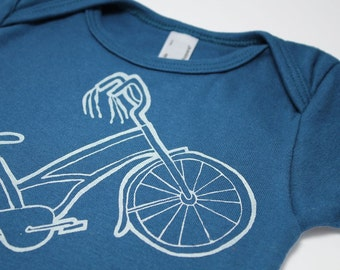 bicycle baby bodysuit screen print cruiser bike one-piece that's how I  roll