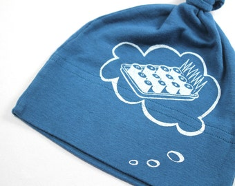 Baby Beanie Organic hat sushi baby thought galaxy blue with white ink
