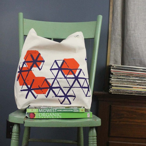 Recycled cotton Fair Trade tote bag screenprint geometric pattern orange and dark violet ink