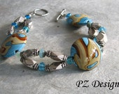 CLEARANCE: Desert Sculptures Bracelet - Lampwork Beads, Blues & Browns, Silver, Toggle Clasp - PZdesigns