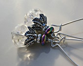 """Earrings """"Alayna"""" Clear Rondelle Earring with Antique Silver Plated Components"""
