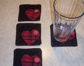 One of a kind Funky plaid heart coaster set of 4