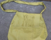 Upcycle Large Fringe bag Split leather 70's style