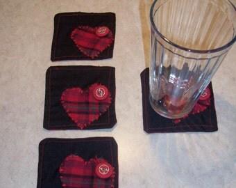 One of a kind Funky plaid heart coaster set of 4