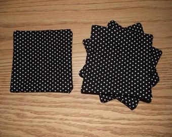 Black and white polka dot coasters set of 4