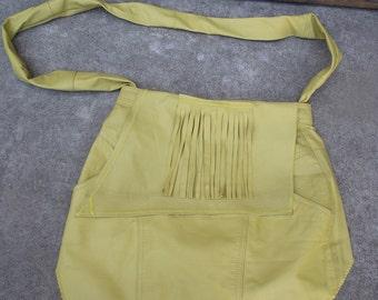 Upcycle Large Fringe bag Split leather 70's style
