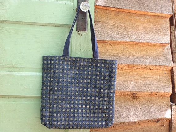 Cloth Tote Bag for Market- Navy Cubed