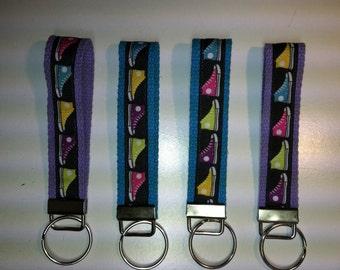 Runner Tennis Shoes Keyfob Aqua Lavender Wristlet Stocking Stuffers