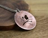Birds & Branches -  necklace - copper -etsymetal team - bird
