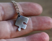 The missing piece - necklace - puzzle - jigsaw - game - sterling silver - etsymetal team
