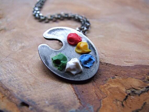 Artists paint palette necklace