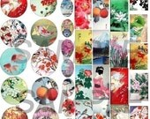 Digital Collage-Image Sheet Bottle Cap-Scrabble-Domino-Rectangular-Oval  4 different sizes in one sheet The Orient-Asian