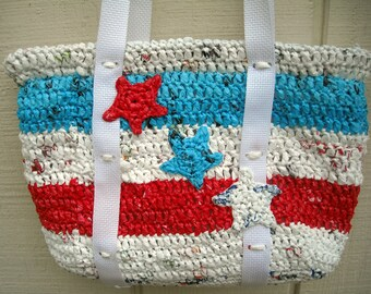 Recycled Red White and Blue Plarn Purse