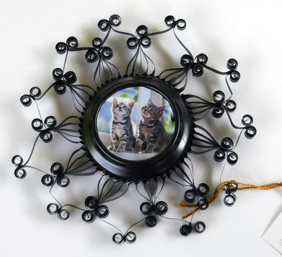 Black Quilled Aluminum Can Photo Frame, Magnet or Candle Holder