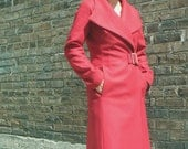 Red Women's Wool coat in cherry Red wool, size 8, last one
