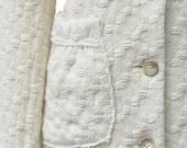 Half OFF,Winter white Italian wool coat in basket-weave wool, Last One size 6 US