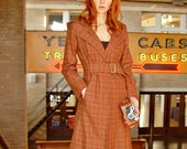 Hooded wool coat with buckle in Cognac plaid, last one size 6 US