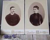 Vintage photos of husband and wife, a pair of French cabinet portraits of a husband and a wife, French ephemera, Strasbourg studio