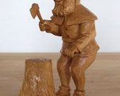 Gorgeous Black Forest dwarf carved wooden vintage possibly one of the seven dwarves circa 1930
