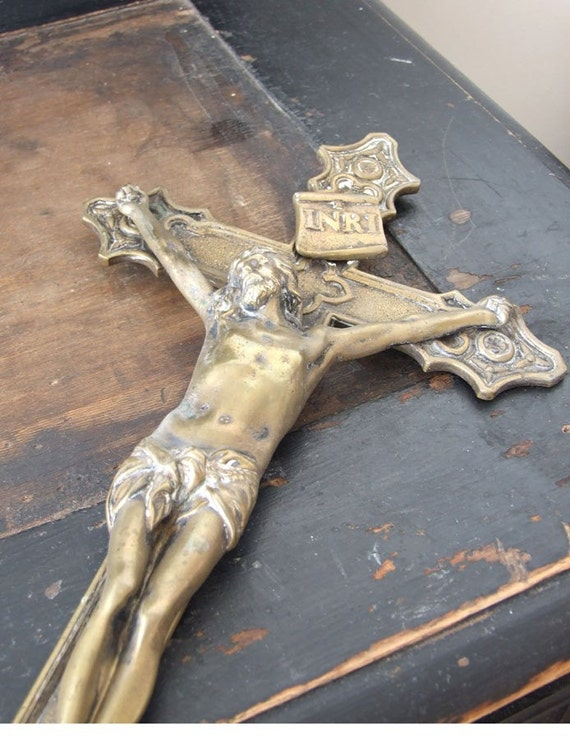 VINTAGE European altar CRUCIFIX antique brass